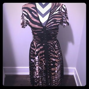 Tracy Reese animal print fit and flare dress